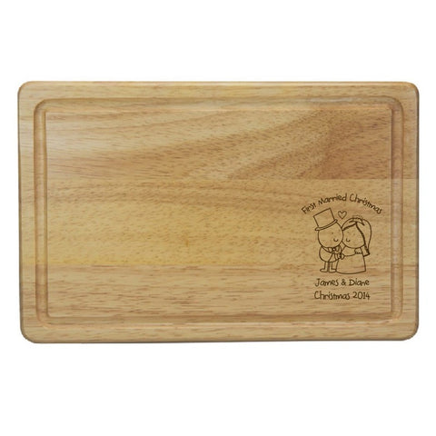 Chilli & Bubble's Married Christmas Rectangle Wooden Chopping Board - Shane Todd Gifts UK