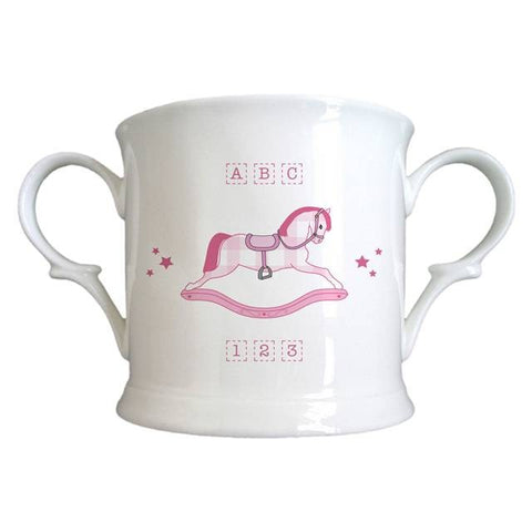 Pink Rocking Horse Bone China Loving Cup | ShaneToddGifts.co.uk