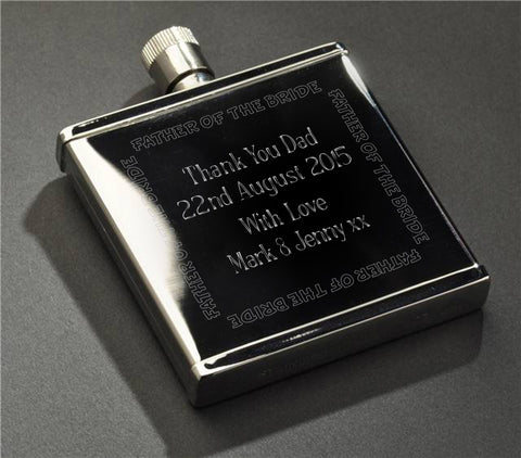 Wedding Party Stainless Steel 2oz Hipflask - Shane Todd Gifts UK
