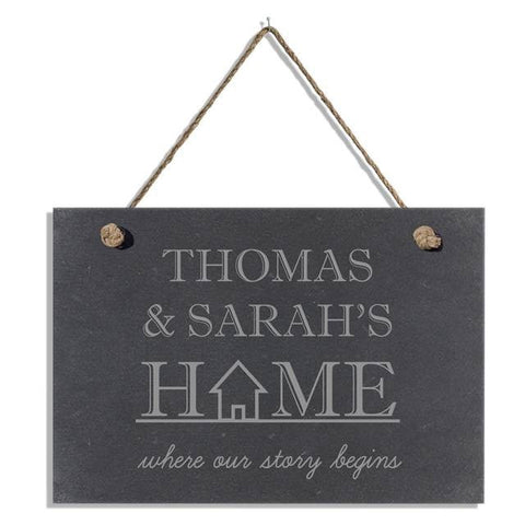 Where our story begins slate hanging sign