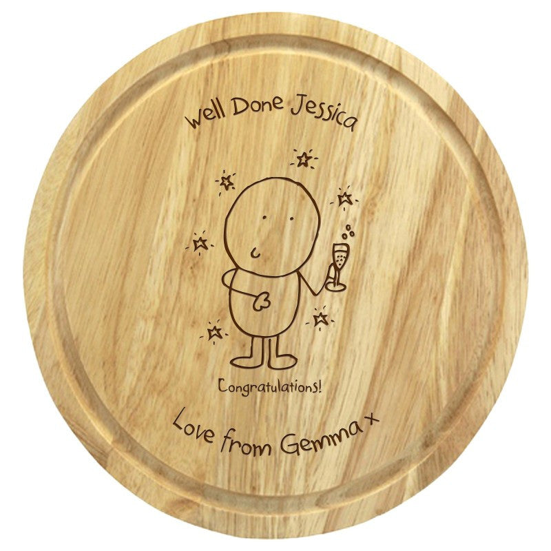 Chilli & Bubble's Congratulations round chopping board