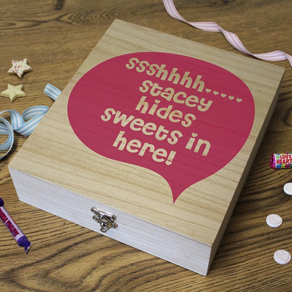 Wooden Retro Personalised  Sweet Box ssshhhh..