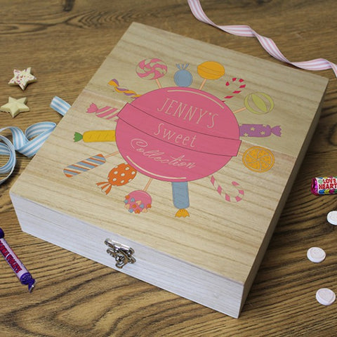 Personalised Wooden Retro Sweet Box - 'sweet collection' - pink