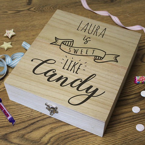 Personalised Wooden Retro Sweet Box - 'sweet like candy'