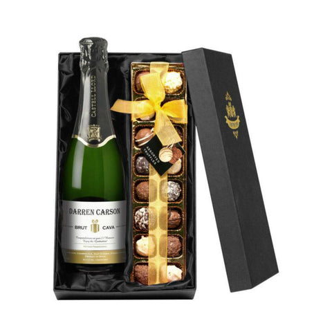 Personalised Cava & Chocolate Truffles Gift Set