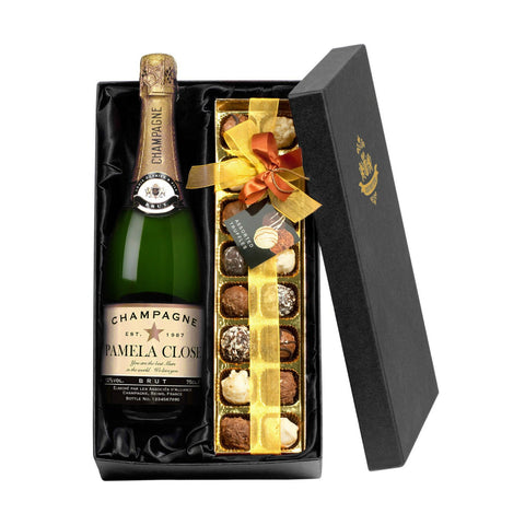 Personalised Champagne & Chocolate Truffles Gift Set