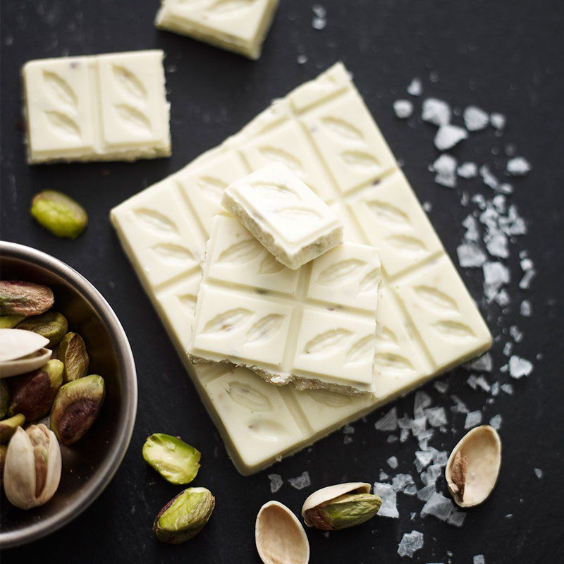 Amelia Rope Chocolate - Open Image for White Chocolate with Pistachio Nuts & Sea Salt