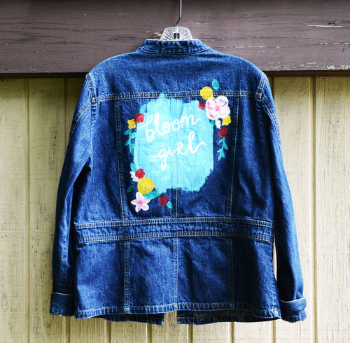 Bloom Girl Florals, Painted Denim Shirt