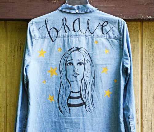 Brave Girl, Painted Denim Shirt