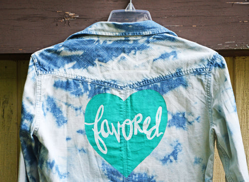 Favored Aqua Heart, Painted Denim Shirt