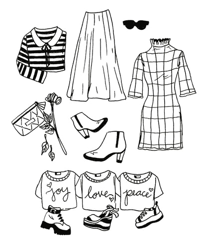 Flourish Fashion Coloring Page