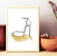 Gold Splash Heels Part Two Fashion Illustration, Art Print