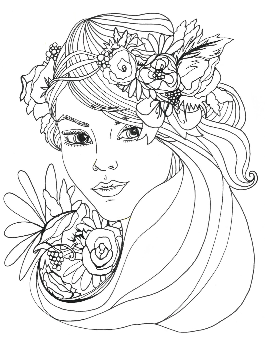 Crowned Beauty Coloring Page