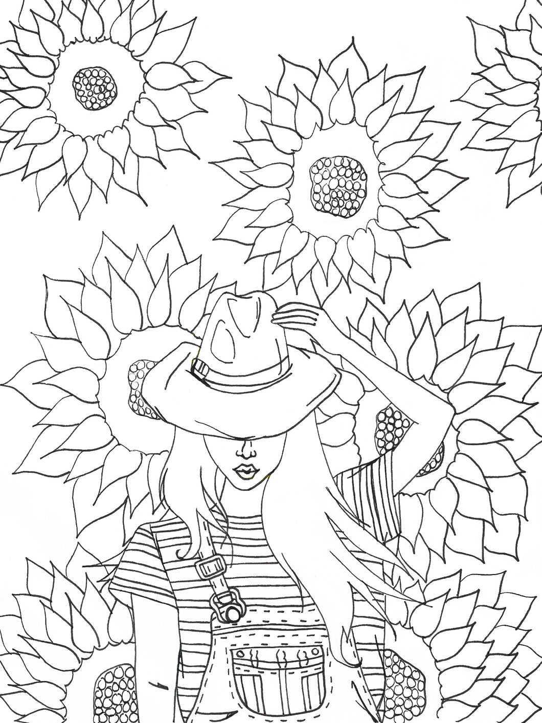 Sunflower Beauty Coloring Page