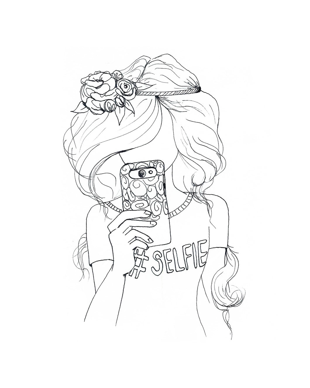 Hashtag Selfie Coloring Page