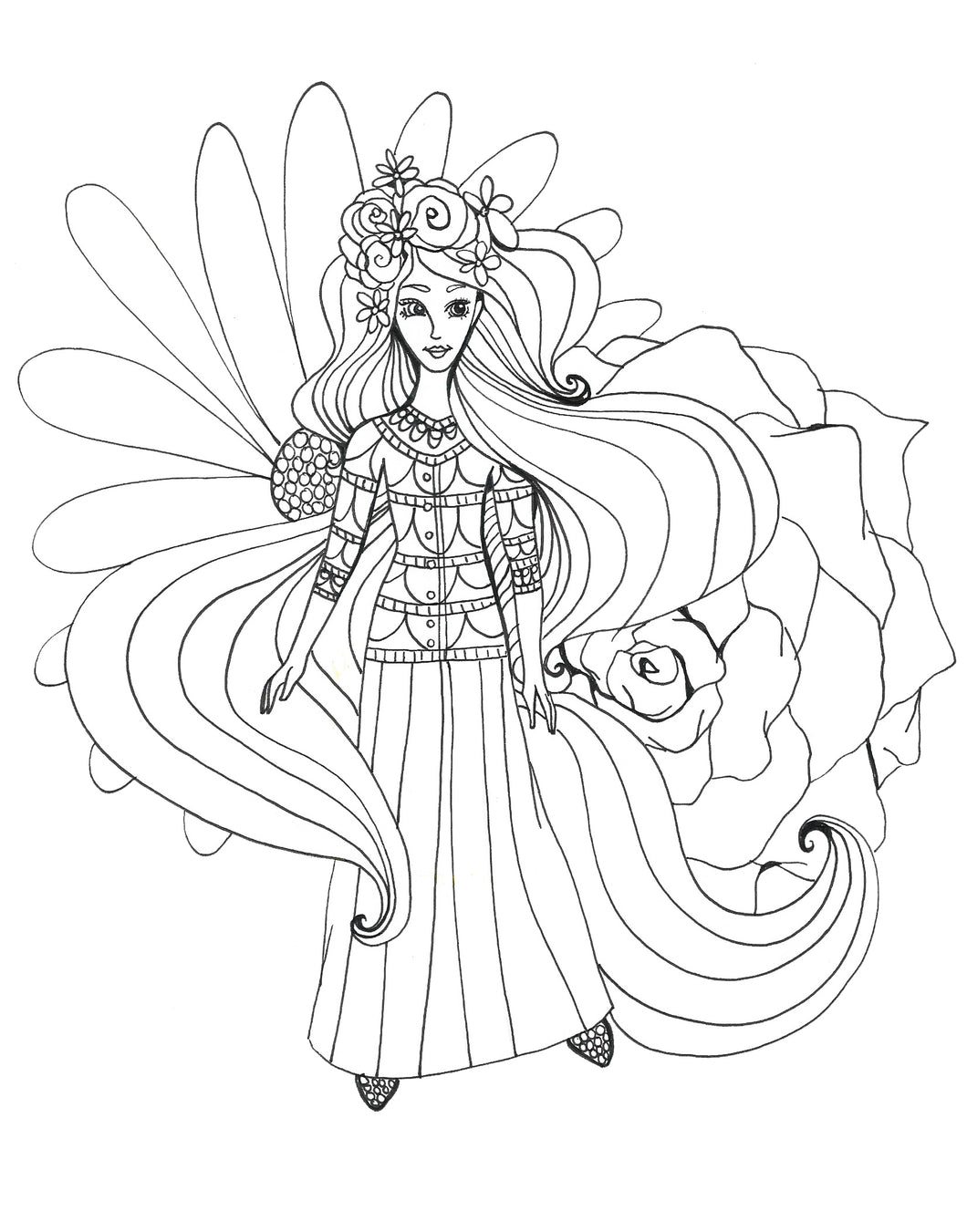 Blossom Girl Coloring Page