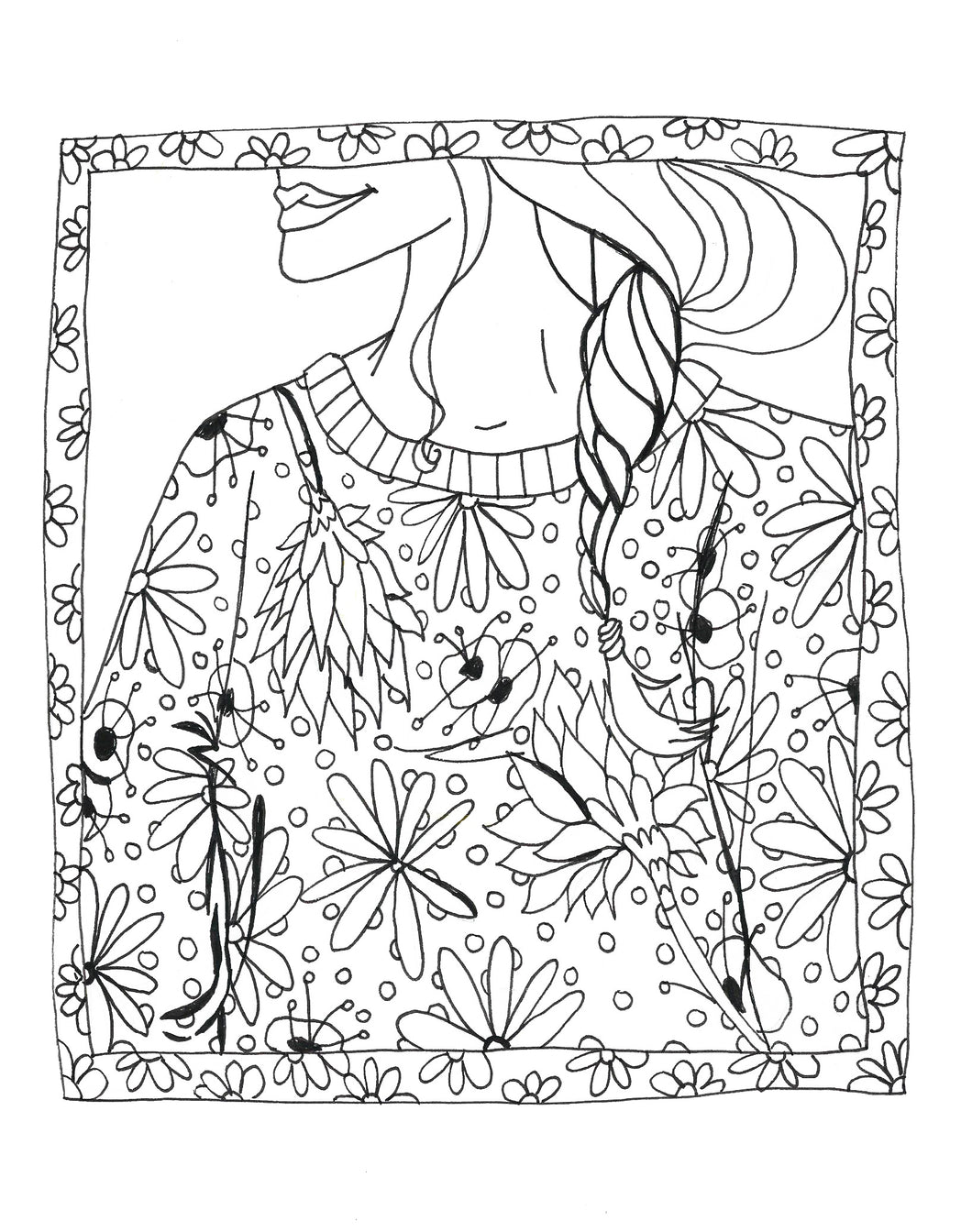 Floral Framed Coloring Page