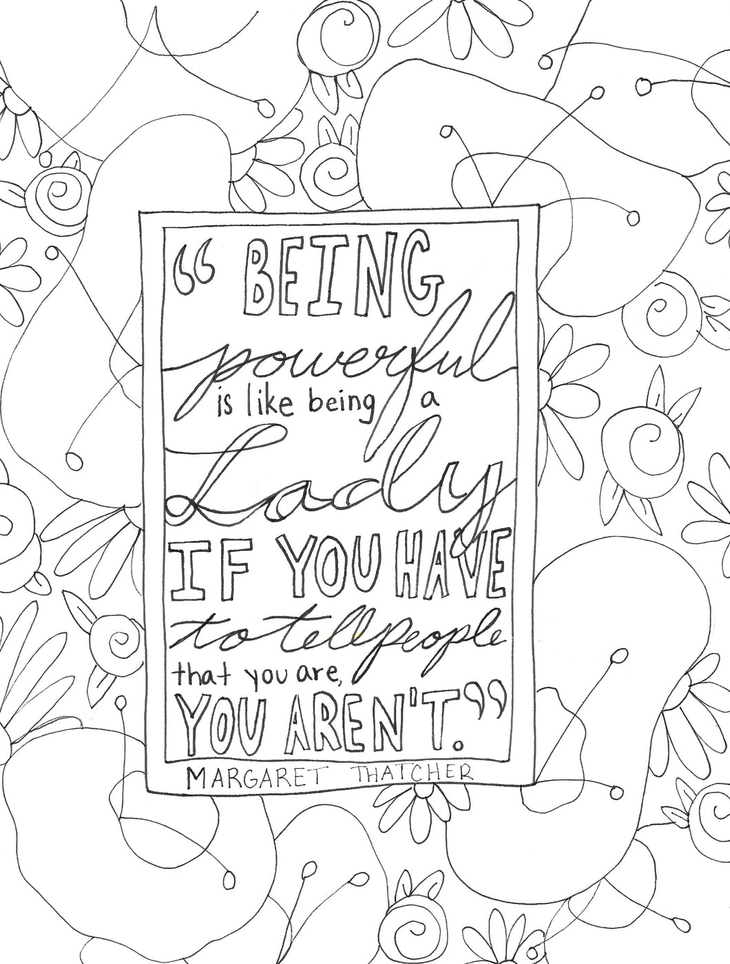 Being a Lady Quote Coloring Page