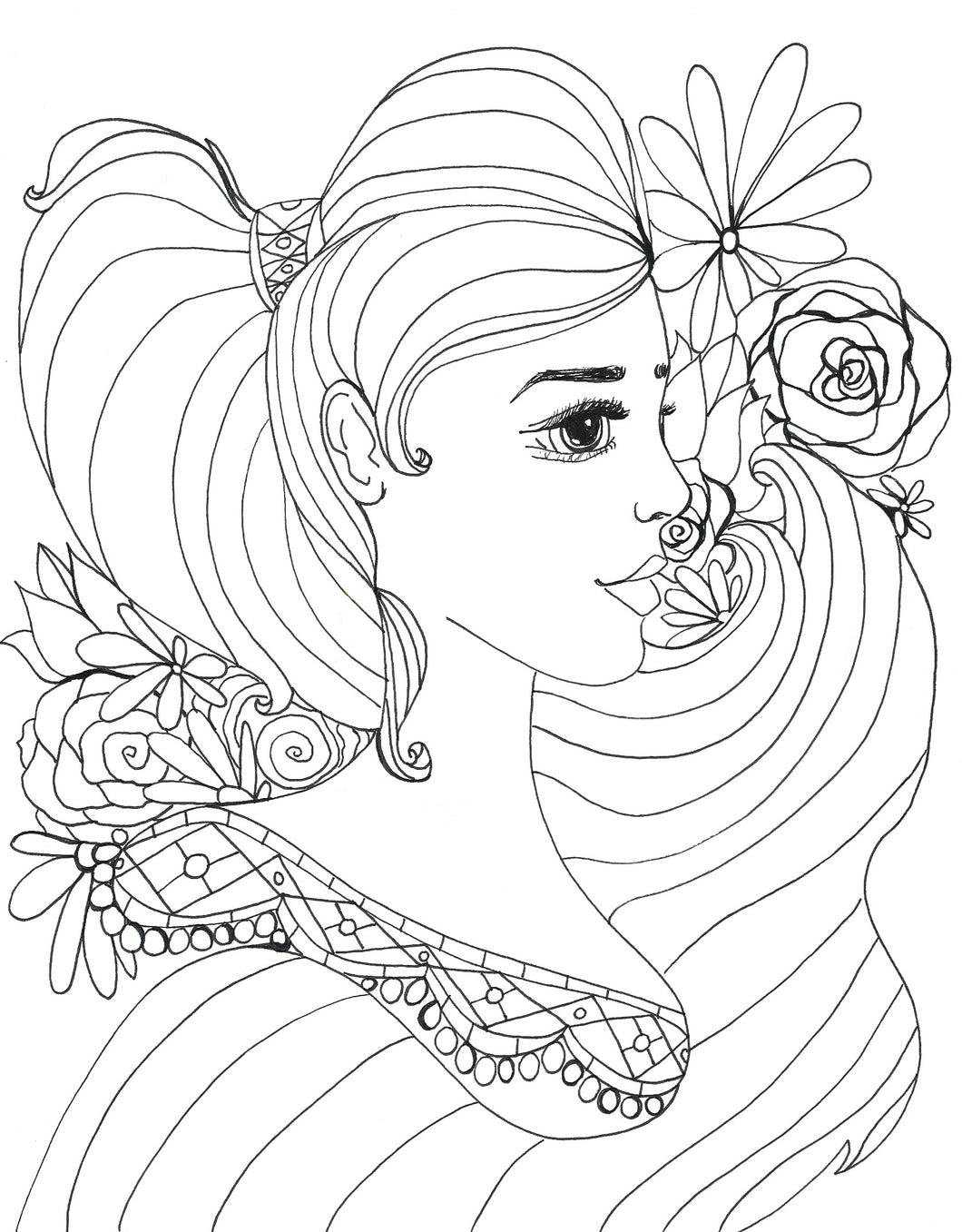 Adorned Beauty Coloring Page