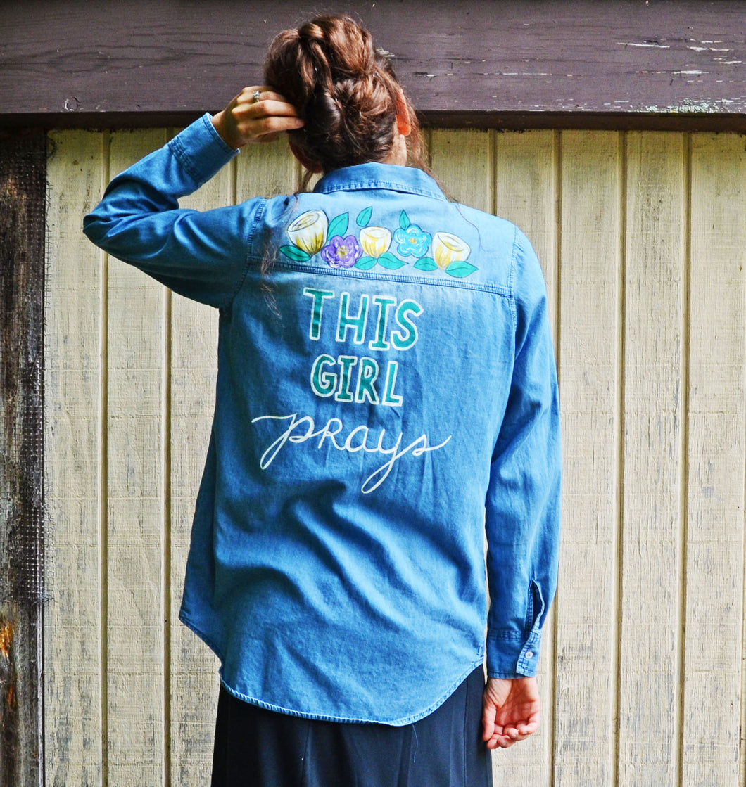 This Girl Prays Florals, Painted Denim Shirt
