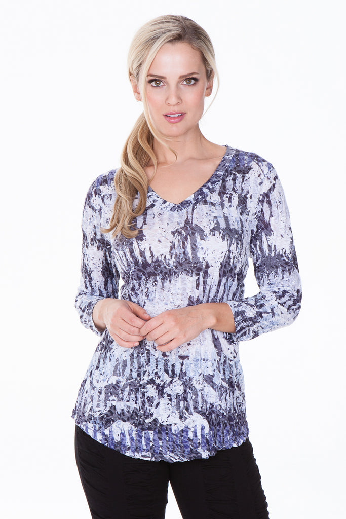 V-Neck Top - Winter Abstract - CARINE