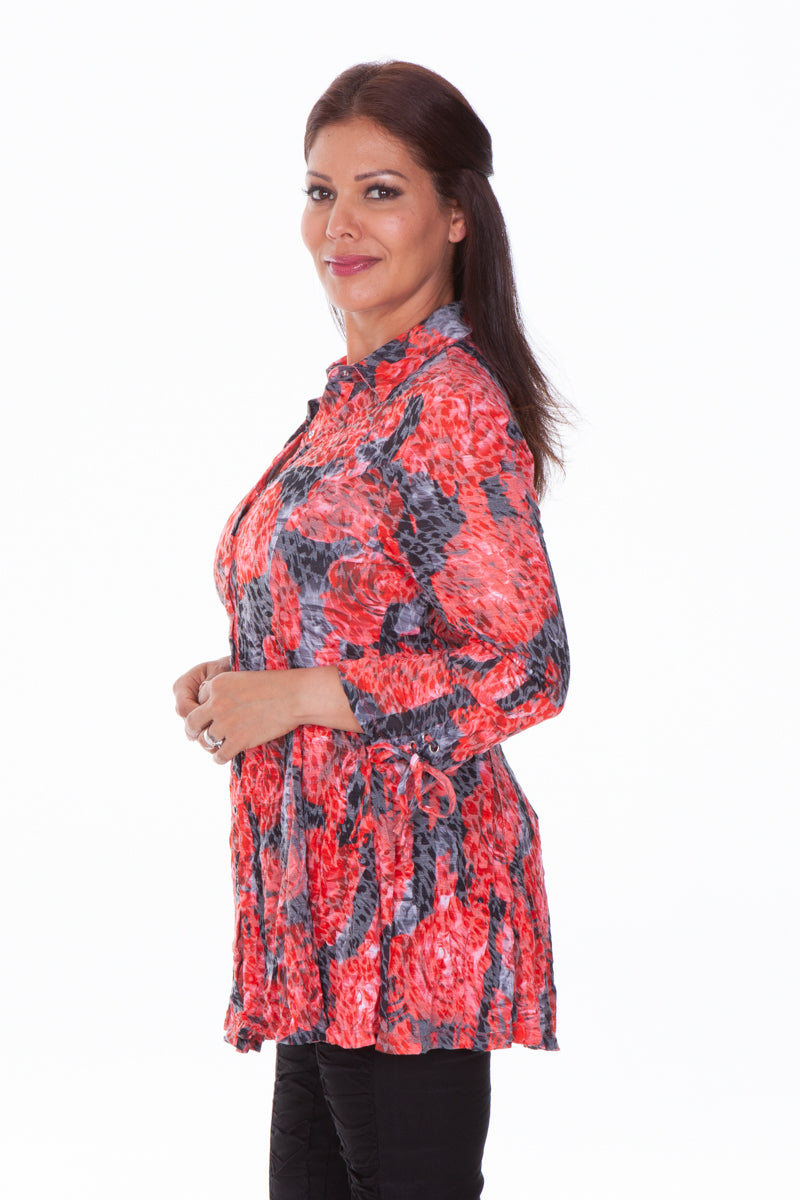 Selena Tunic with Sleeve Tie Detail - Rose Buds - CARINE