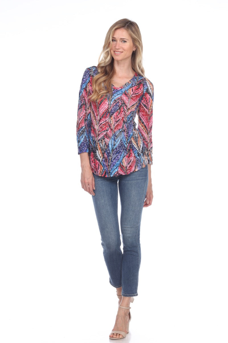V-Neck Top - Berry Leaves - CARINE