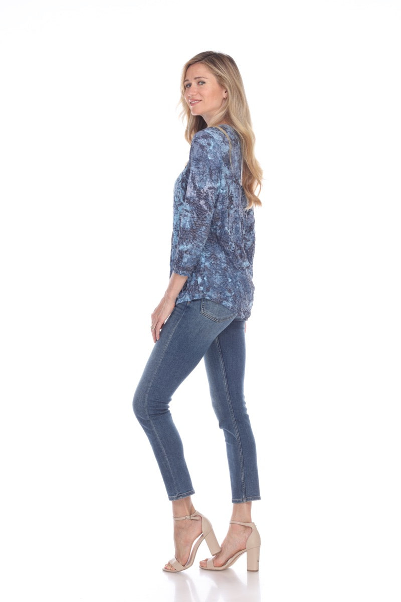Round Neck Top - Blue Stream - CARINE