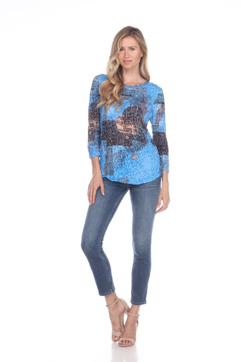 Round Neck Top - Blue Artifact - CARINE