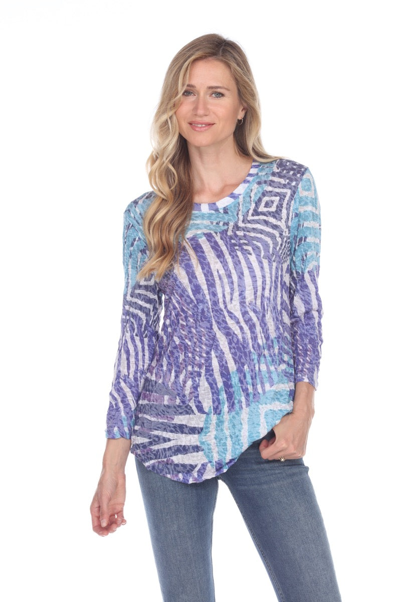 Round-Neck Top - Indigo Zebra