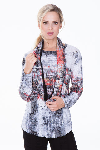 L/S Top w/ Scarf - Sunrise Abstract