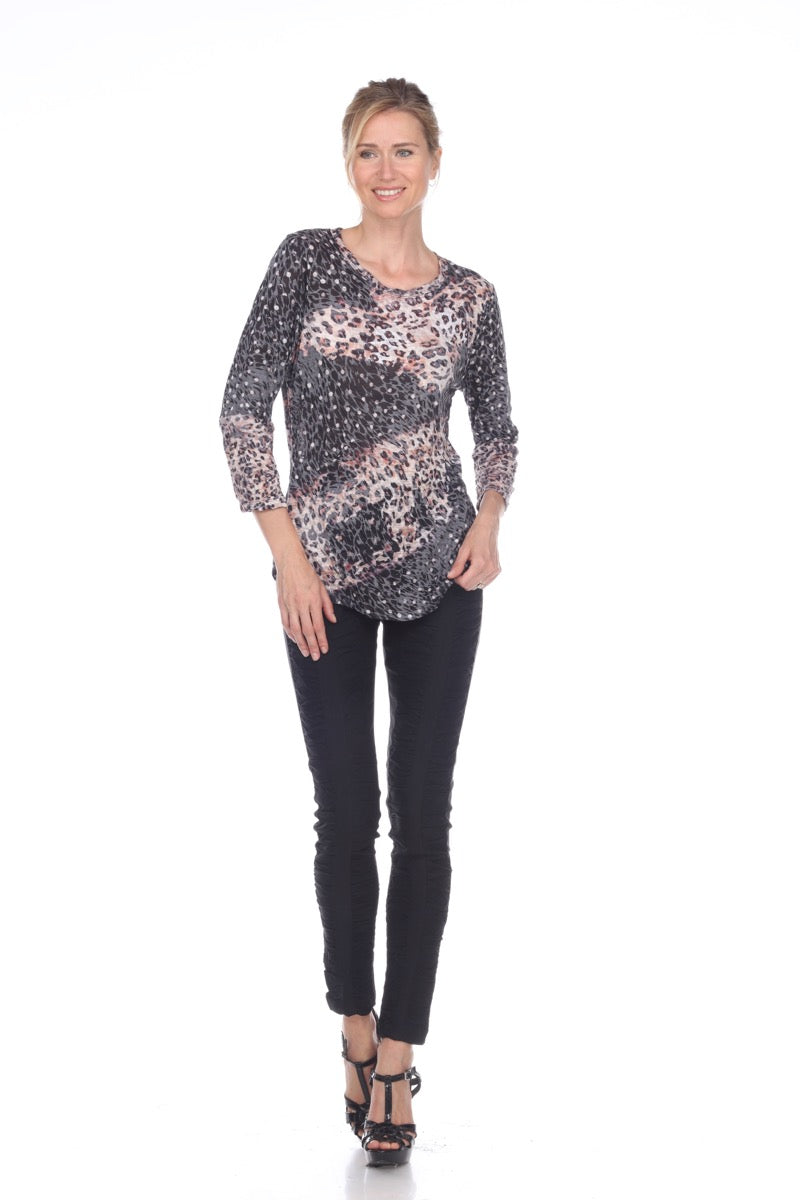 Round Neck Top - Dark Leopard - CARINE