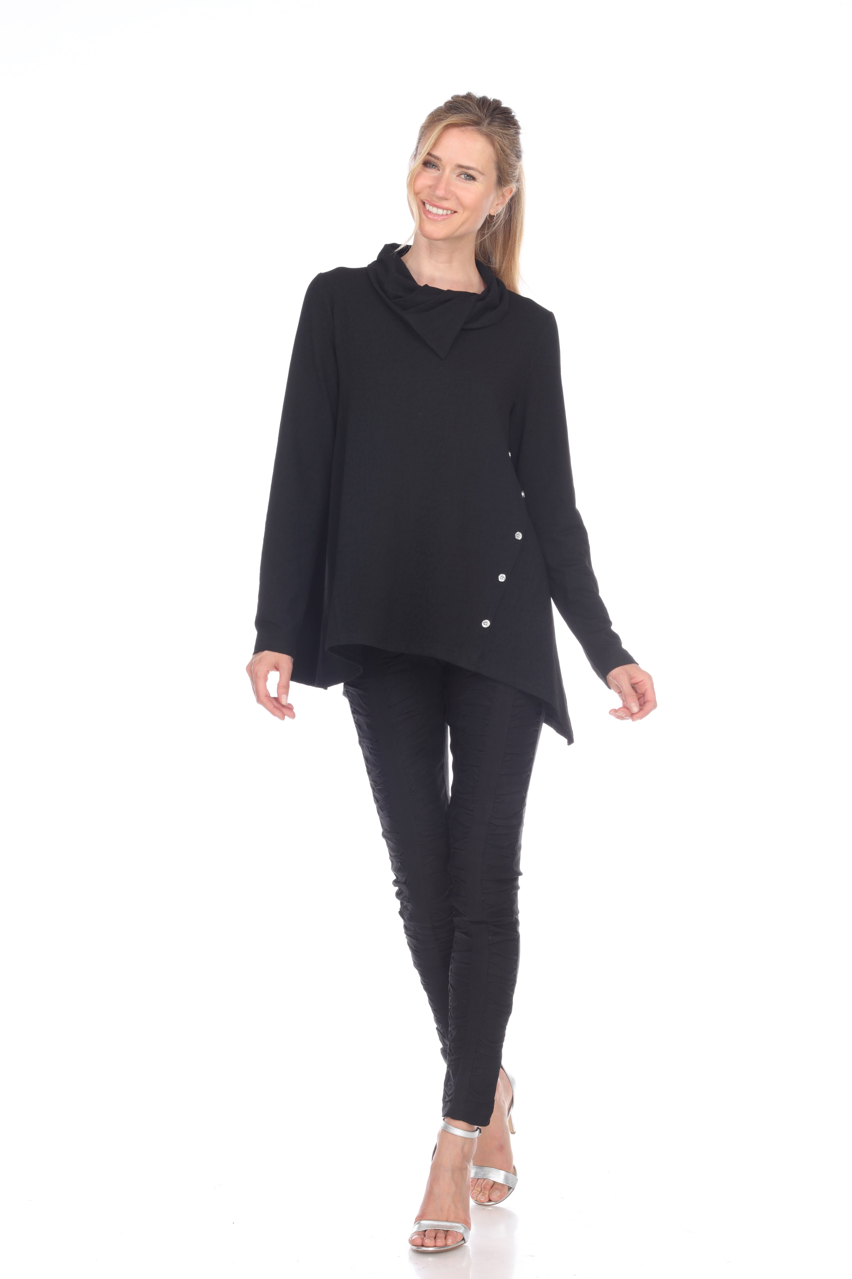 Tunic with Asymmetrical Button Front - Black - CARINE