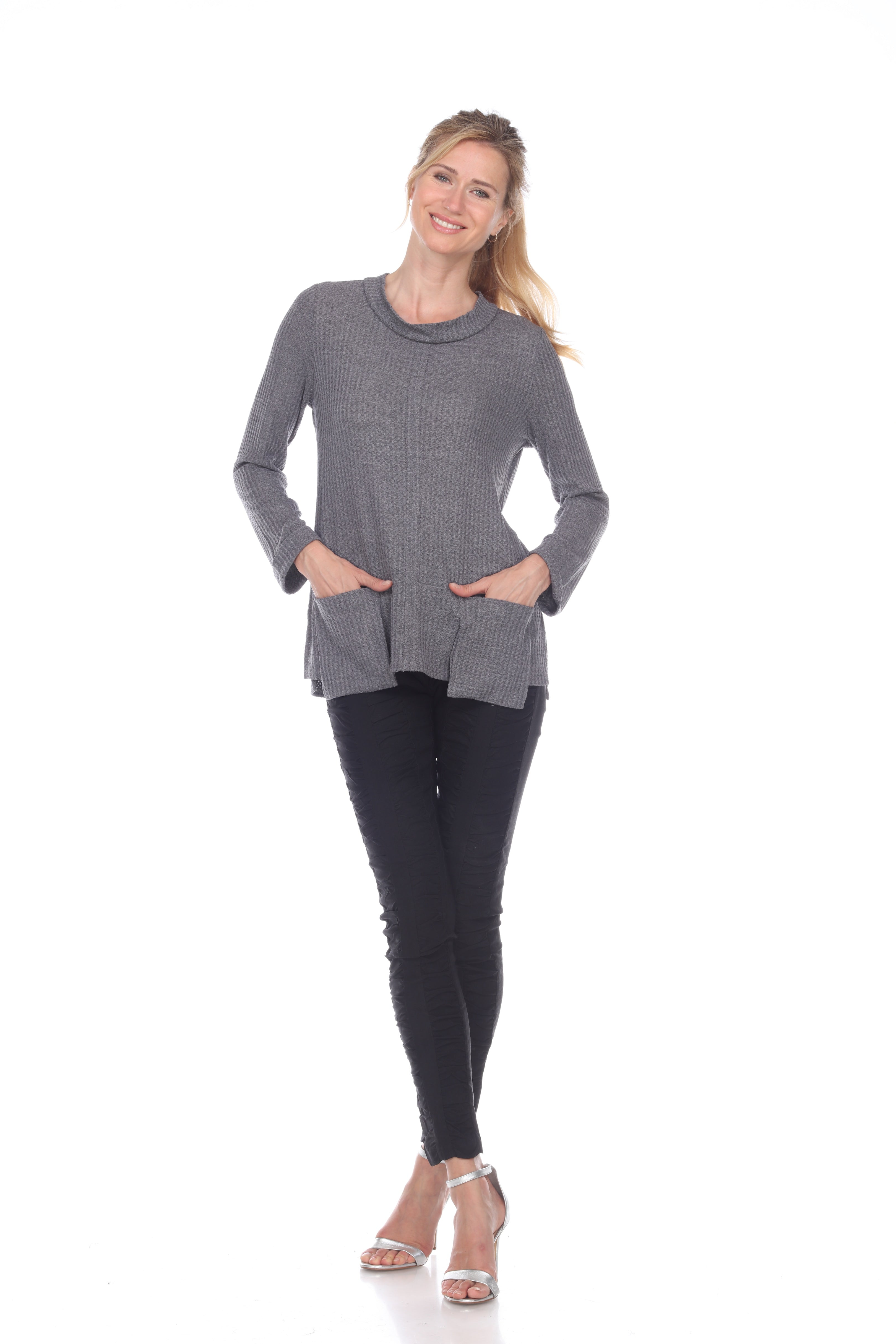 Sweater with Two Front Pockets - Gray