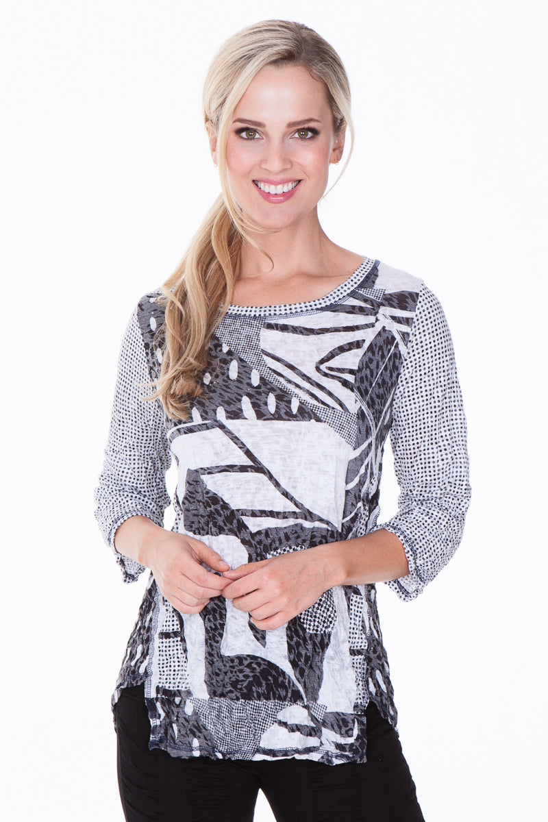Jeri Top - Gray Abstract - CARINE