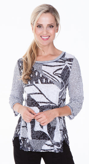 Jeri Top - Gray Abstract