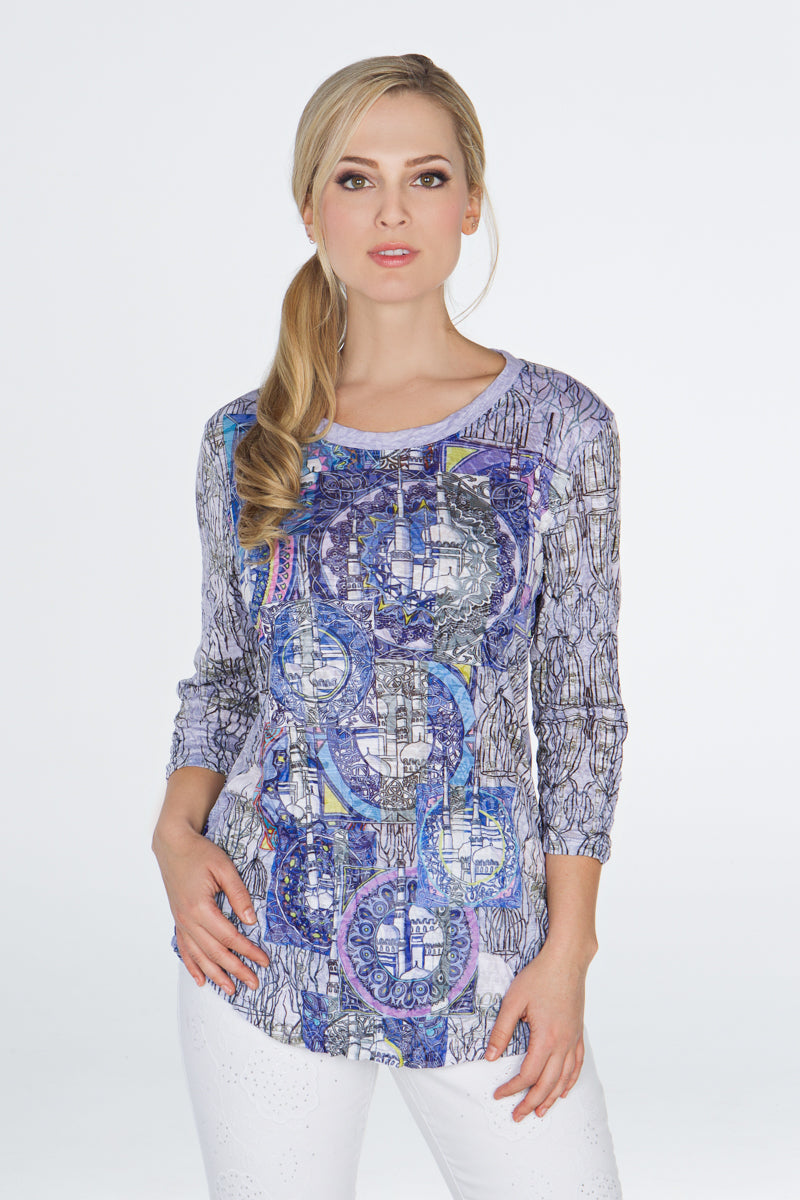 Round-Neck Top - Blue Towers - CARINE