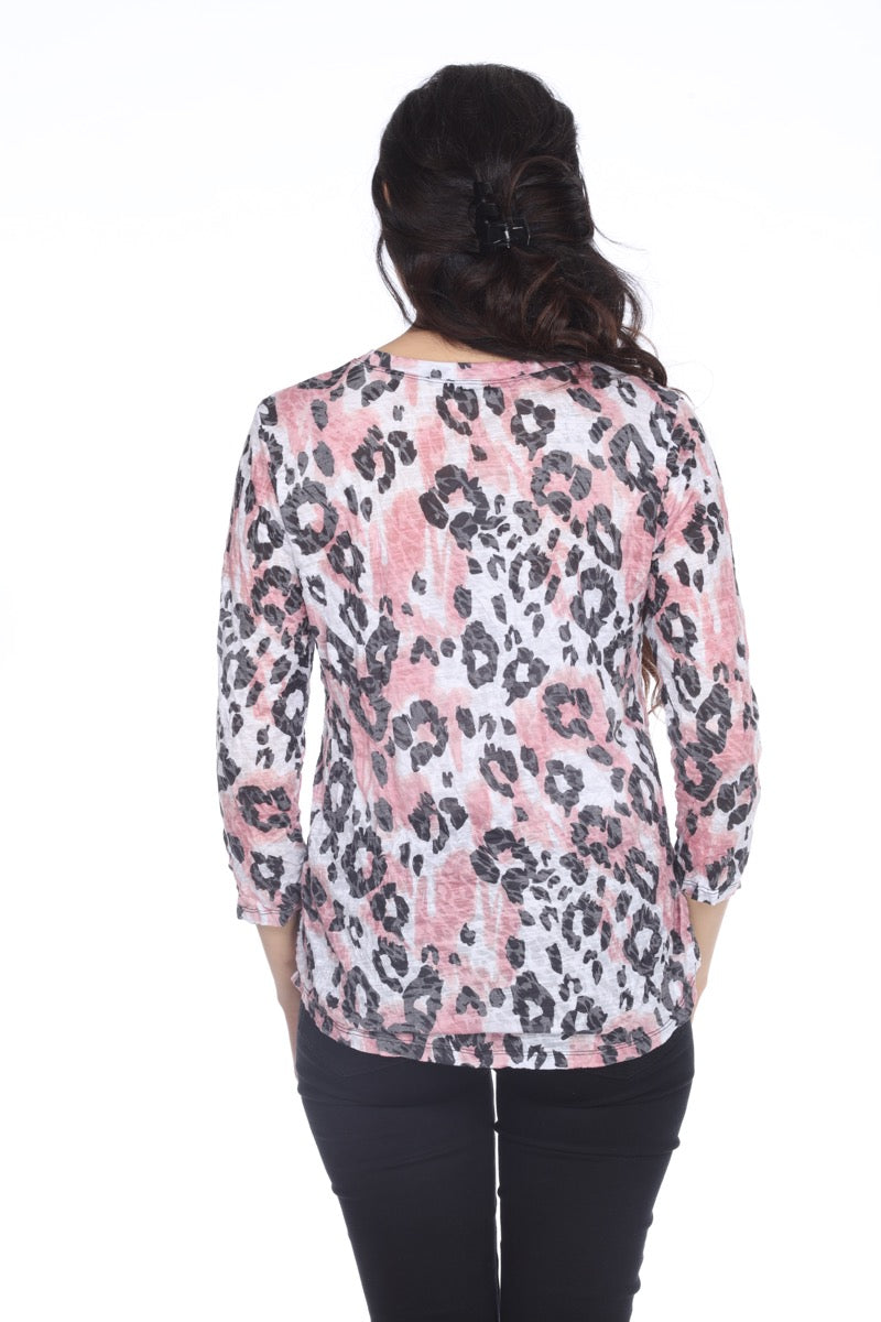 Round-Neck Top - Blush Leopard - CARINE