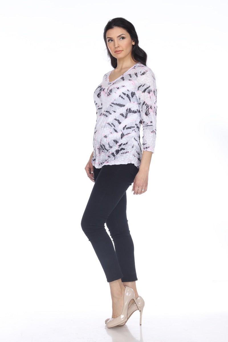 V-Neck Top - Pink Tiger - CARINE