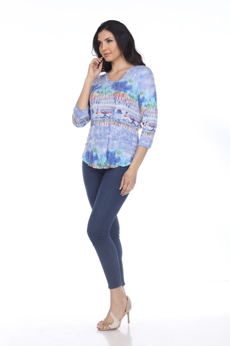 V-Neck Top - Painted Garden - CARINE