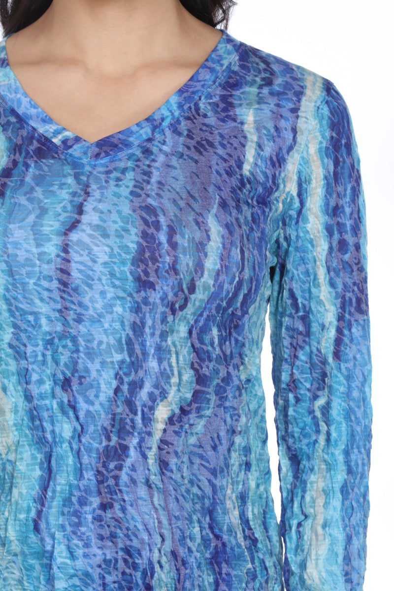 V-Neck Top - Blue Aquarelle - CARINE
