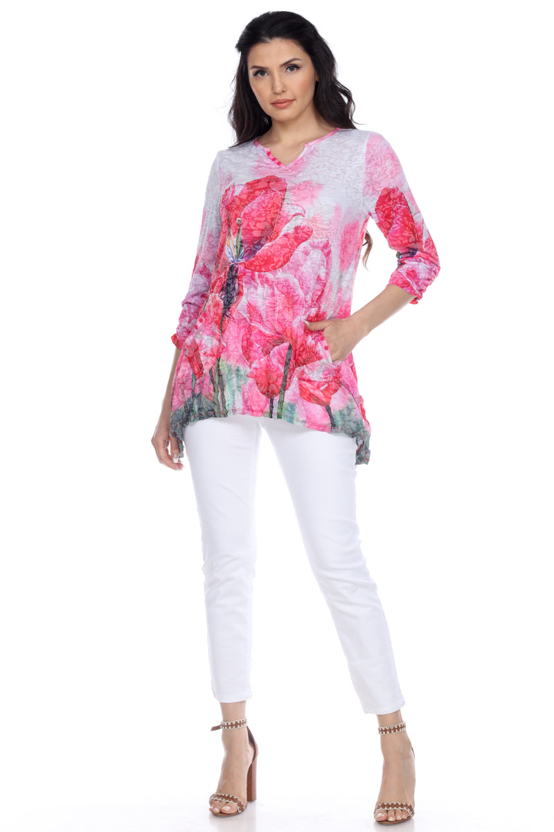 Two Pocket Tunic - Scarlet Spring - CARINE