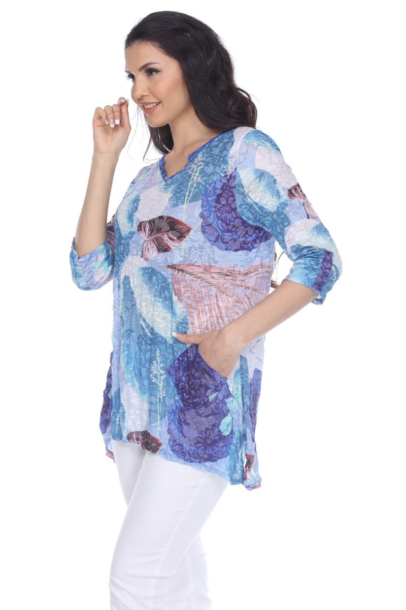 Two-Pocket Tunic - Blue Garden - CARINE