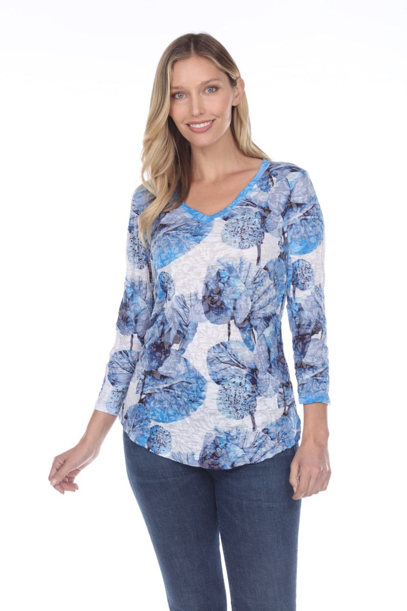 V-Neck Top - Blue Leaves - CARINE