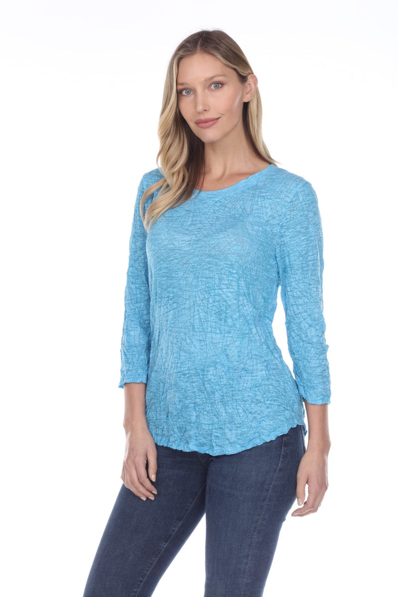 Round-Neck Top - Aqua - CARINE