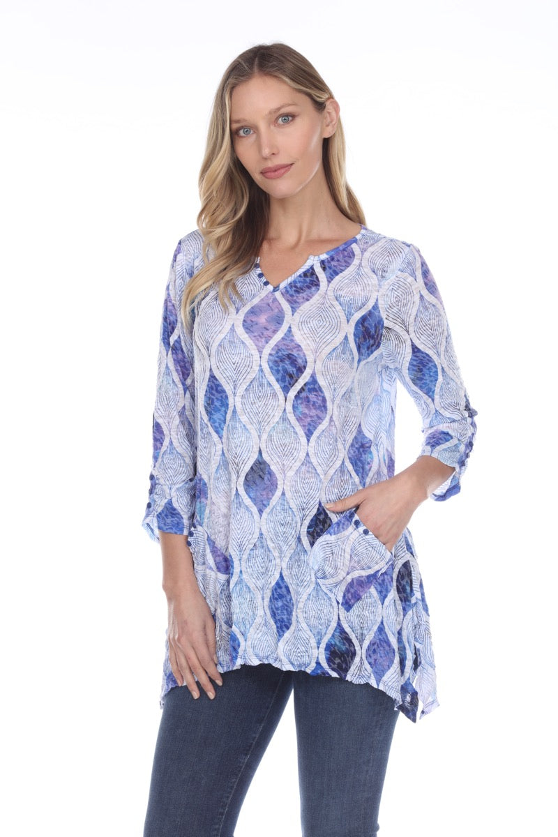 Two Pocket Tunic - Blue Ornaments - CARINE