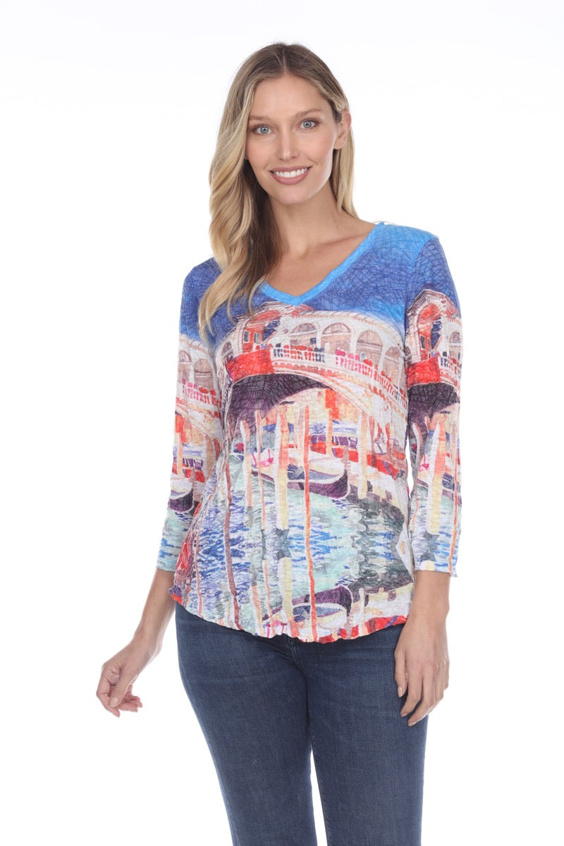 V-Neck Top - Blue Venice - CARINE