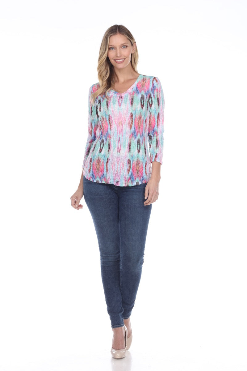 V-Neck Top - Multi Accent - CARINE