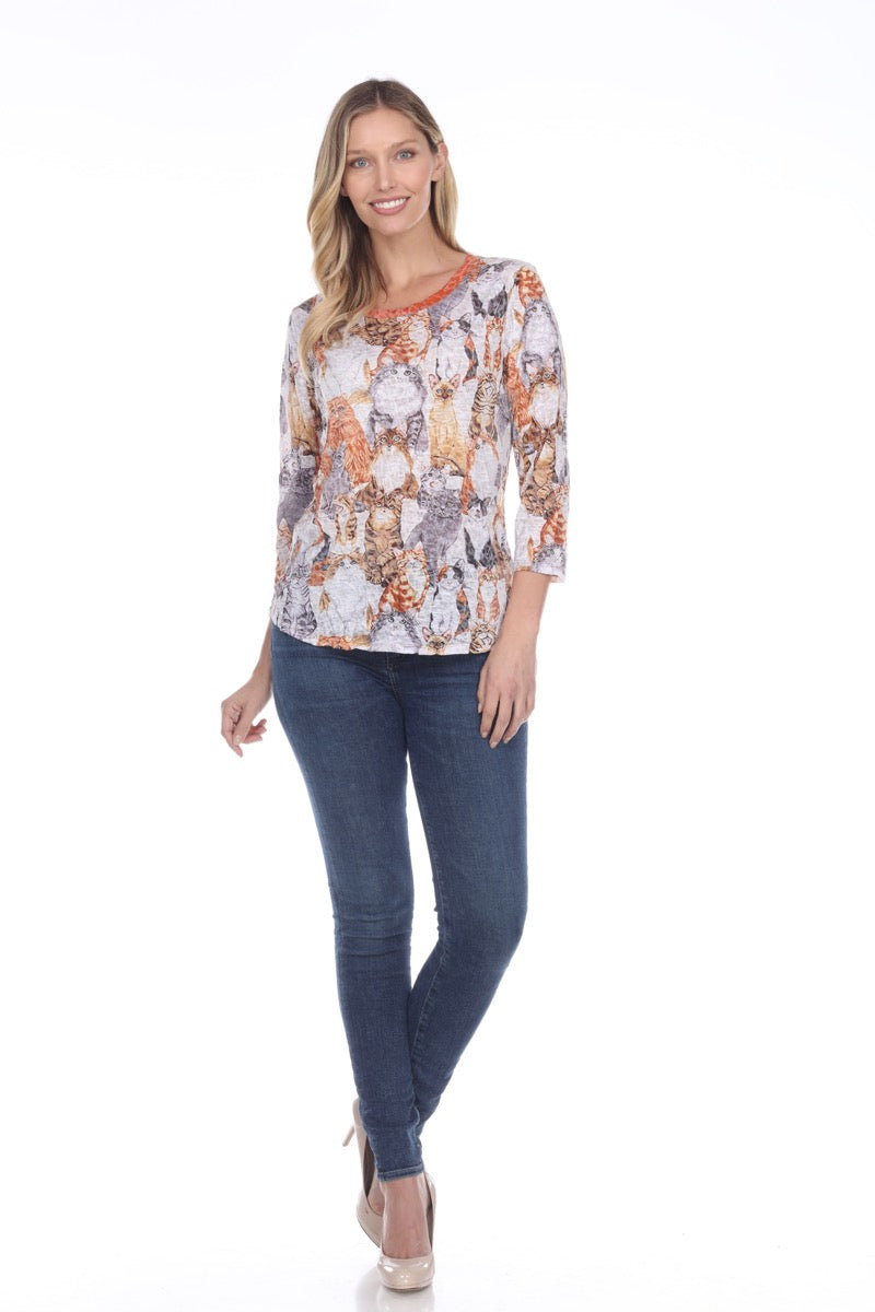 Round-Neck Top - Cat Party - CARINE
