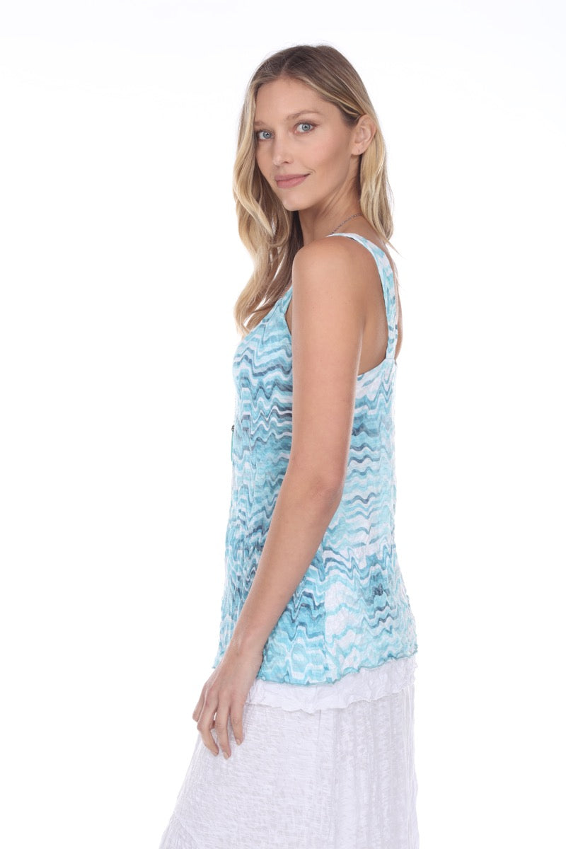Tilly Tank - Aqua Waves - CARINE